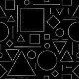 Black white doted abstract geometric shapes seamless pattern, vector. Background Stock Photos