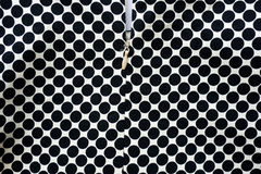Black and white dots fabric with zipper background Stock Photography