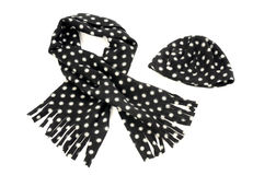 Black with white dots scarf and hat. Stock Photos