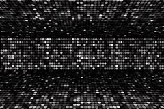 Black and white dots stage background, perspective Royalty Free Stock Images