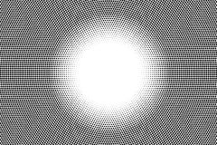 Black and white dotted gradient with blank space in center. Contrast half tone  background. Detailed dotted halftone. Monochrome texture. Black ink dot on Royalty Free Stock Images