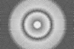 Black white dotted halftone. Half tone background. Concentrated circle dotted gradient. Abstract minimal texture. Black ink dot on transparent backdrop. Pop royalty free illustration