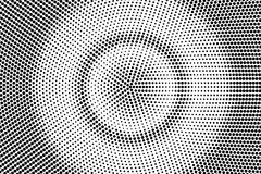 Black white dotted halftone. Half tone background. Round concentrated dotted gradient. Abstract minimal texture. Black ink dot on transparent backdrop. Pop art royalty free illustration