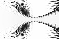 Black and white dotted spiral tunnel. Striped twisted spotted optical illusion. Abstract halftone background. 3D render. Rotating infinite wallpaper royalty free illustration