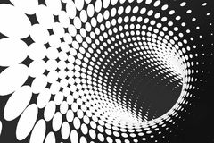 Black and white dotted spiral tunnel. Striped twisted spotted optical illusion. Abstract halftone background. 3D render. Rotating infinite wallpaper stock illustration