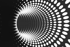Black and white dotted spiral tunnel. Striped twisted spotted optical illusion. Abstract halftone background. 3D render. Rotating infinite wallpaper vector illustration