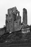 Black and White Dramatic Corfe Castle Royalty Free Stock Photo