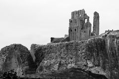 Black and White Dramatic Corfe Castle Ruin Stock Photography