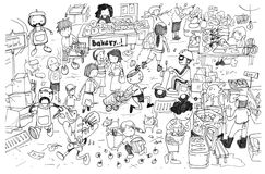 Black and white drawing of busy market cartoon. Fun and cute illustration Royalty Free Stock Image
