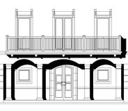 Black and white drawing cad. House elevation on white background with shadows Stock Photography