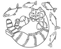Black and white drawing of a cat - a fat happy well fed cat surrounded by fish, doodle Royalty Free Stock Photo