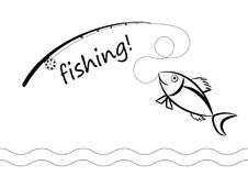Black and white drawing of a caught fish Stock Photography