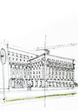 Black and white drawing in charcoal of a big construction Royalty Free Stock Image