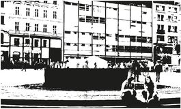 Black and White Drawing of the City Street royalty free illustration