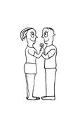 Black and White Drawing Couple in Love Concept Royalty Free Stock Images