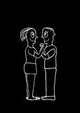 Black and White Drawing Couple in Love Concept Stock Image