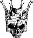 The King of the skull. Black and white  drawing of a crowned, powerfull, mysterious skull Royalty Free Stock Photo