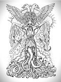 Black and white drawing with evil goddess or female demon with tentacles, skull and mystic spiritual symbols royalty free illustration