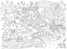 Black and white drawing of fairyland country. Medieval castle in the magic forest for coloring. Worksheet for children and adults. Stock Photos