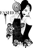 Black and white drawing fashion girl Stock Photography