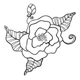 Black and white drawing of flower Stock Photo