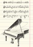 Black and White Drawing of Grand Piano Royalty Free Stock Photography