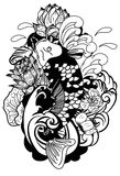 Black and white Drawing Koi Carp Japanese tattoo style Royalty Free Stock Images