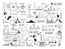 Black and white drawing of many different business elements. Fin Stock Images