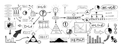Black and white drawing of many different business elements Stock Photos
