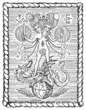 Black and white drawing with mystic and alchemical symbols, androgyne, twins or Gemini concept in frame Royalty Free Stock Photos