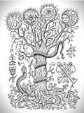Black and white drawing with mystic and christian religious symbols as snake, tree of knowledge and forbidden fruit royalty free illustration