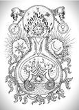Black and white drawing with mystic, spiritual and alchemical symbols, zodiac sign Gemini concept with moon, sun and stars. Occult and esoteric vector Stock Image