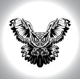 Black and white drawing owl Stock Images