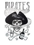 Black-and-white drawing of pirates attributes composition: skull, mustache, anchor, rum and bones stock illustration