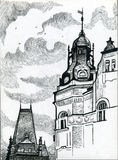Black and white drawing Prague with ancient buildings. Stock Photography