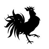 Black and white drawing of a rooster.  illustration Stock Image