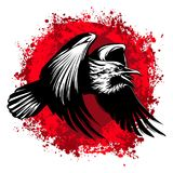 Black and white drawing silhouette of a flying Raven. Vector illustration. Black and white graphics. The Raven flies. Bloody red spots of paint Royalty Free Stock Photos