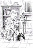Black and white drawing of a small kid playing in the kitchen Stock Photos