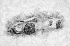 Black and white drawing of sports car. royalty free stock photo