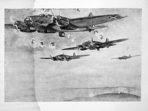 Squadron of German aircraft Heinkel 111. Spanish civil war. Black and white drawing of a squadron of German aircraft Heinkel 111 bombing republican positions Royalty Free Stock Photos