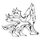 Howling wolf with a bird. Black and white drawing of a wolf with a fire bird inside it. The thunderbolt bird throws lightning Royalty Free Stock Photography