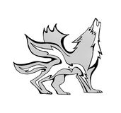 Fire wolf and a bird. Black and white drawing of a wolf with a fire bird inside it. The wolf and the bird have wings. They are symbols of elements of nature Royalty Free Stock Photography