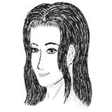 Black and white drawn woman Royalty Free Stock Photography