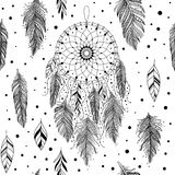 Black and white dreamcatcher pattern. Black and white seamless pattern, hand drawn dreamcatcher with floral details and feathers, vector background, can be used stock illustration