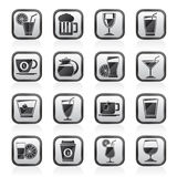 Black an white drinks and beverages icons Stock Photo