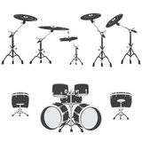 Black and white Drum set, vector Stock Photos