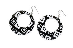 Black and white earrings Stock Photography
