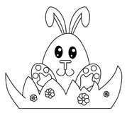 Black and white Easter bunny. Black and white drawing representing a cute little egg-headed Easter bunny seated beside an in bloom bush Royalty Free Stock Photo