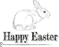 Black and white Easter card. Black and white Easter greeting card with rabbit Royalty Free Stock Image
