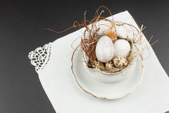 Black and white easter decoration. Easter eggs decoration idea in black and white Stock Photos